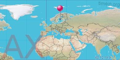 Aland Islands Local Time - Aland islands world map