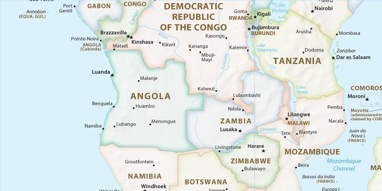 Luanda on map